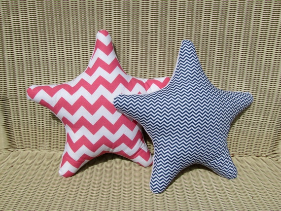 Navy And Pink Decorative Pillows: 2 Navy And Pink Chevron Starfish Pillows Modern By RaggedyRAD