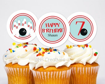 Personalized Bowling Birthday Cupcake Toppers - DIY Printable Digital File