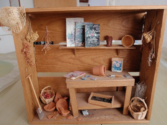 Dollhouse garden shed in a country style