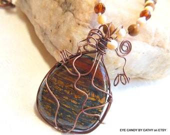 Wire wrapped pendant necklace, brown, gold, black jasper pendant, beaded necklace, antiqued copper