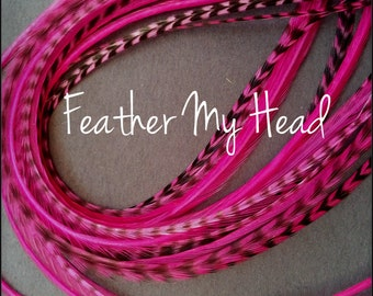 Whiting Grizzly Feather Extension Saddle Hackle Extra Long Hair Feathers 9-12 inchesMagenta Pink
