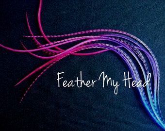 Tie Dye Fade Feather Extensions Grizzly Rooster Feathers Whiting Hair Feathers Long 9-12 inches