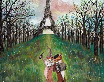 Print, Je Ne Sais Quoi, French Foxes, French Honeymoon, Paris, Woodland art, Nursery art, wedding gift