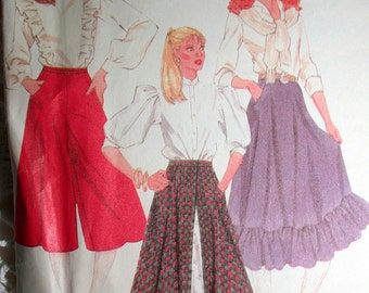 "McCalls Skirt Pattern No 8101 UNCUT Vintage 1980s Size 12 Waist 26 1/2"" Full Gathered Skirt With Ruffle or Culottes Rockabilly Prarie Skirt"