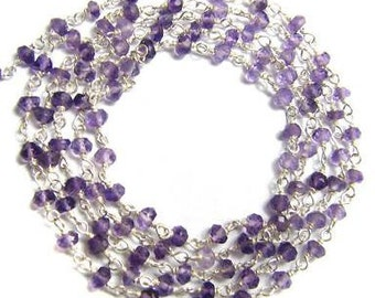 Purple Amethyst Rosary Chain Beads 1 1/2 Ft Sterling Silver Wire Chain 3.5mm Semiprecious Faceted Gemstone Beads Take 20% Off Jewelry Supply