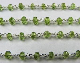 Peridot Rosary Chain 1 Ft Green Beads Sterling Silver Chain 3.5mm Green Semiprecious Faceted Gemstone Take 20% Off Peridot Jewelry Supply