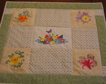 Table Topper Spring Floral Spray Quilted Embroidered