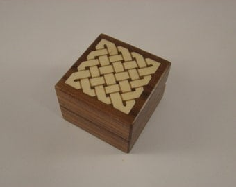 Ring Box of solid walnut inlaid with a holly weave pattern.  Free shipping and Engraving. RB40