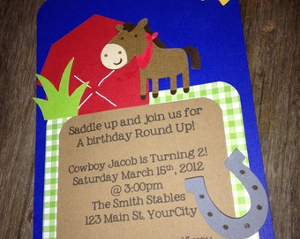 Cowboy roundup birthday invitation - set of 12 - horse, barn, round-up, cowboy party