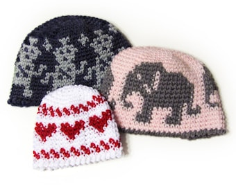 Fair My-Isle Hat CROCHET PATTERN instant download - fair isle beanie tapestry