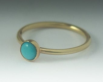 Turquoise Gold Ring, 14K Solid Gold Turquoise Stacking ring, Turquoise Ring Gold,  Solid Gold Stack Ring, Turquoise Stack Ring, Yellow Gold