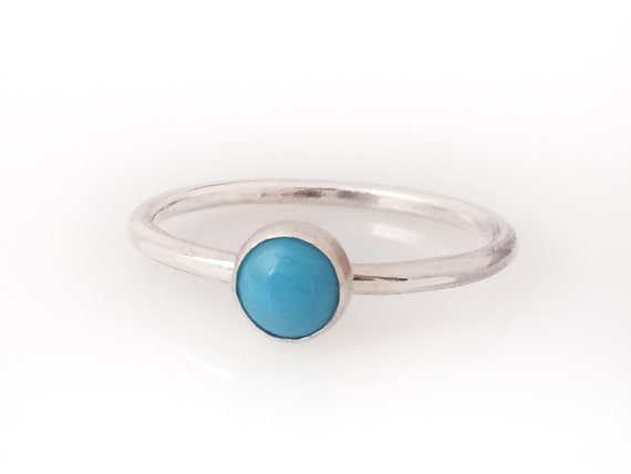 Turquoise ring - Sterling Silver Turquoise Stacking ring - 5mm stone