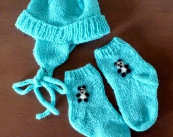 Knit Baby Boy Hat and Socks Set