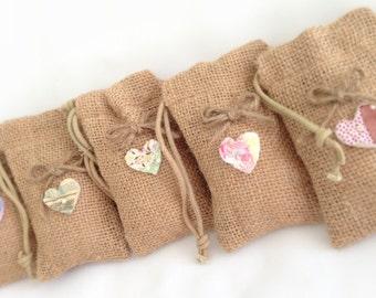 Farmhouse Favor Bags Rustic Burlap Bag with Hearts Farmhouse Wedding Favors  Country Wedding Bags Guest Favors  ( 5 )