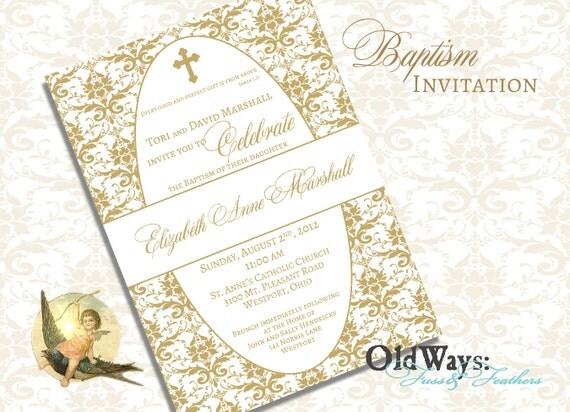 elegant gold damask baptism invitation girl boy christening, Baptism invites