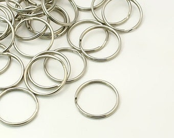 s00914 -10 Stainless Steel Jump Rings Split Rings or Key Rings,  about 25mm in diameter, 1.5mm thick