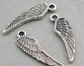 Wing Charms Feather Antique Silver 10pcs zinc alloy pendant beads 7X26mm CM0351S
