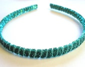 Thin Turquoise Headband / Sparkly Hair Accessory