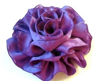 Dark Purple Satin Ruffled Hair Flower or Pin Accessory