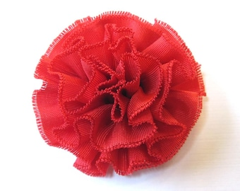 Fabric Flower Hair Clip, Brooch, or Pin - Small Scarlet Red Flower