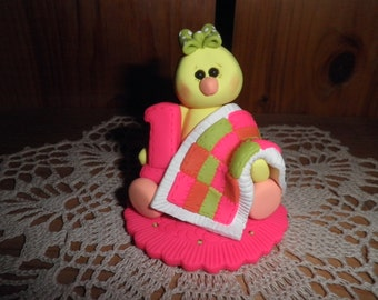 "Polymer Clay Chick-Personalized ""Baby's First Birthday"" Chick Cake Topper/Keepsake/Gift"