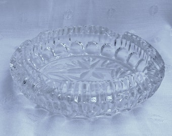 Austrian Lead Crystal Cut Glass Ashtray Candy Dish Candle Holder Mid Century Modern MCM