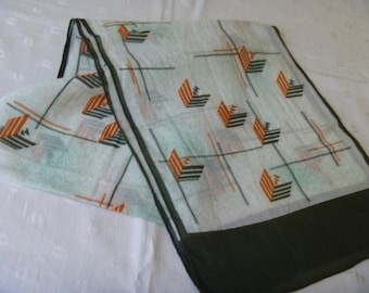 Vintage Green Orange Chevron Design Abstract Long Neck Scarf