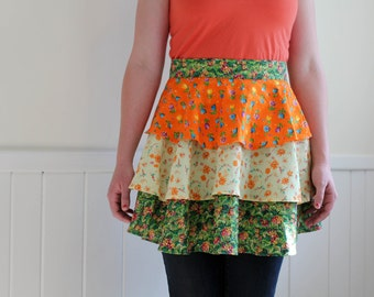Summer Fields Ruffled Half Apron - Orange, Yellow, Green Tiered Apron for women, cooking, painting, gardening, cleaning apron, floral apron