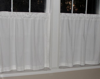 "Kaufman Premium Kona All White Cafe Curtains 80"" wide x 30"" long"