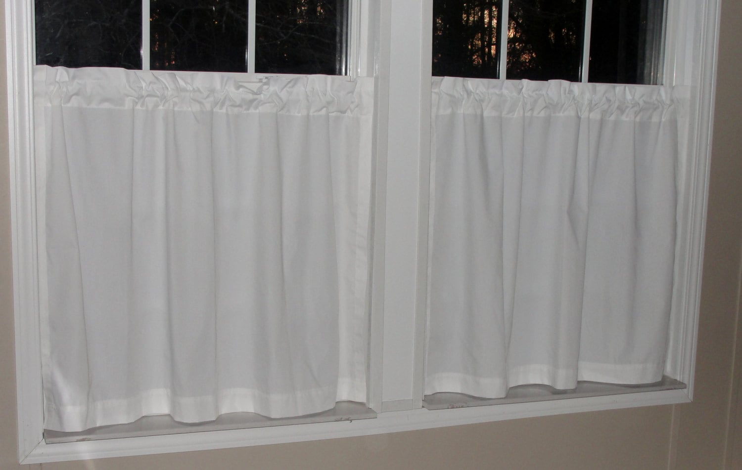 Cafe curtains for bathroom - Kaufman Premium Kona All White Cafe Curtains 80 Wide X 30 Long