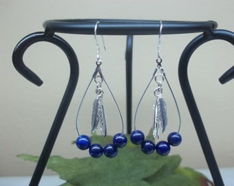 Blue Lapis Lazuli Earrings Lapis Hoop Earrings Silver Feather Earrings Sterling Silver Dangle Earrings Teardrop Earrings BuyAny3+1 Free