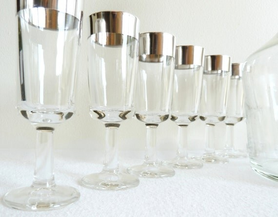 Mid Century Silver Trim Barware - Decanter and 6 Glasses (SALE - Use coupon code SOCHI10 for an extra 10% off)