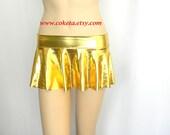 Adult Micro Mini Skirt, Gold metallic lycra mini skirt