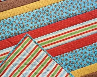 Modern Baby Quilt, Monkey Quilt, Toddler Quilt, Striped Quilt, Baby Quilt, Blue Quilt, Yellow Quilt, Brown Quilt, Red Quilt