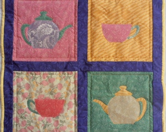 Appliqued Table Topper, Teapots and Teacups Table Topper, Teapots and Teacups Quilt, Quilted Wall Hanging