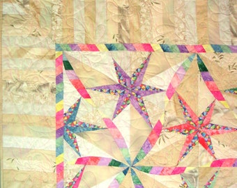 """Twisted Star (or is it """"Twisted Ribbon"""") Twin Sized Quilt - 72in X 78in"""