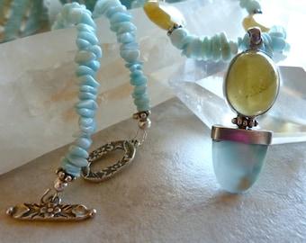 Gorgeous Larimar and Prehnite Sterling Pendant, Elegant Larimar Artisan Statement Necklace
