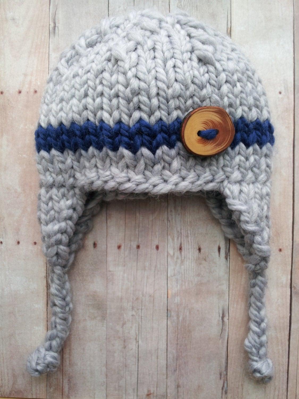 gray blue baby boy knitted hat baby hat with stripe newborn