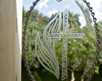 Cross SUNCATCHER Clear Etched Glass Window Hanging Easter Christmas GIFT Vintage 70s Metal Frame with Chain Trim Cross and Flames Heart
