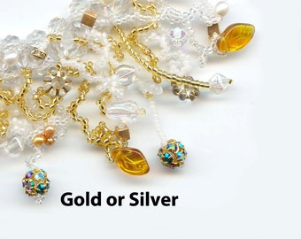 Bead Jewelry Kit, Bracelet Bead Pattern, Gold, Silver, White