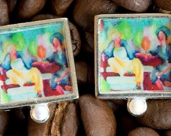 "Artisan ""Coffee"" square post earrings with swarkovski crystal"