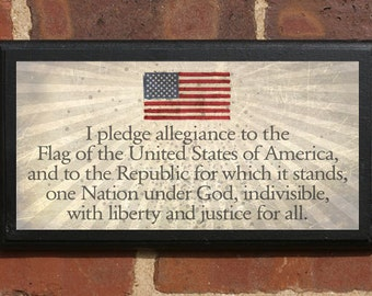 The Pledge of Allegiance Wall Art Sign Plaque, Gift Present, Home Decor, Vintage Style, Classic Liberty Justice for All Under God America us