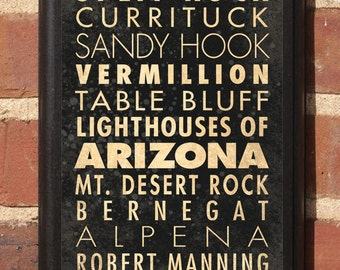 Arizona AZ Lighthouses Wall Art Sign Plaque Gift Present Home Decor Vintage Style Buffalo Quoddy Split Rock Vermillion Currituck Classic