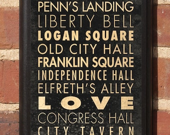 Philadelphia PA Points of Interest & Destinations Wall Art Sign Plaque Gift Present Home Decor Vintage Style Logan square Fairmont Classic