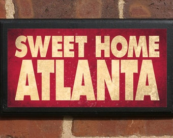 Atlanta GA Sweet Home Wall Art Sign Plaque Gift Present Personalized Color Custom Home Decor Falcons Braves Peachtree ATL Vintage Style City
