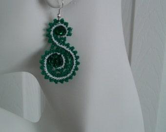 "SALE Green & White Battenburg ""S"" Lace Charm Earrings"