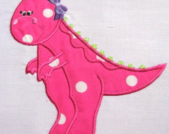 Girly Dinosaurs 02 Machine Applique Embroidery Design - 4x4, 5x7 & 6x8