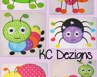 Cute Crawling Bugs 1-6 Machine Applique Embroidery Design - 4x4, 5x7 & 6x8