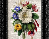 Vintage Flowers Bouquet - Dictionary Book Print Vintage Dictionary Print  Book Print Page Art Upcycled Vintage Book Art buy 2 get 1 free