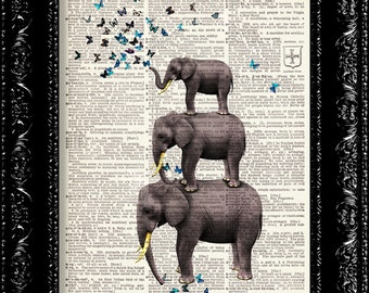 Elephants With Blue Butterflies - Vintage Dictionary Print Vintage Book Print Page Art  Book Art